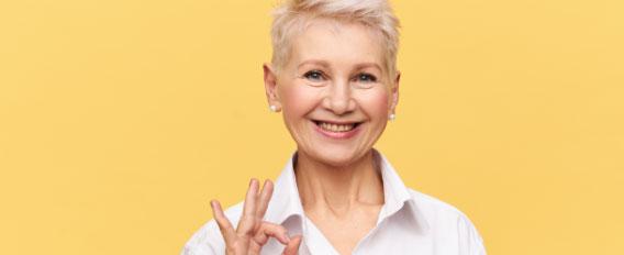 senior volunteering - happy woman